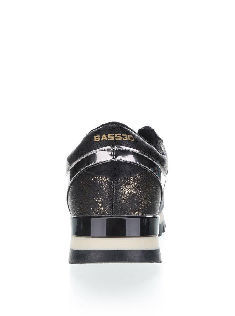 Černé dámské tenisky s lesklými detaily Bassed