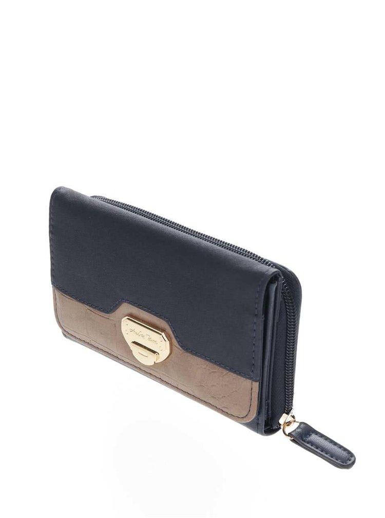 Tmavomodrá malá peňaženka s hnedým detailom Andrea Bucci