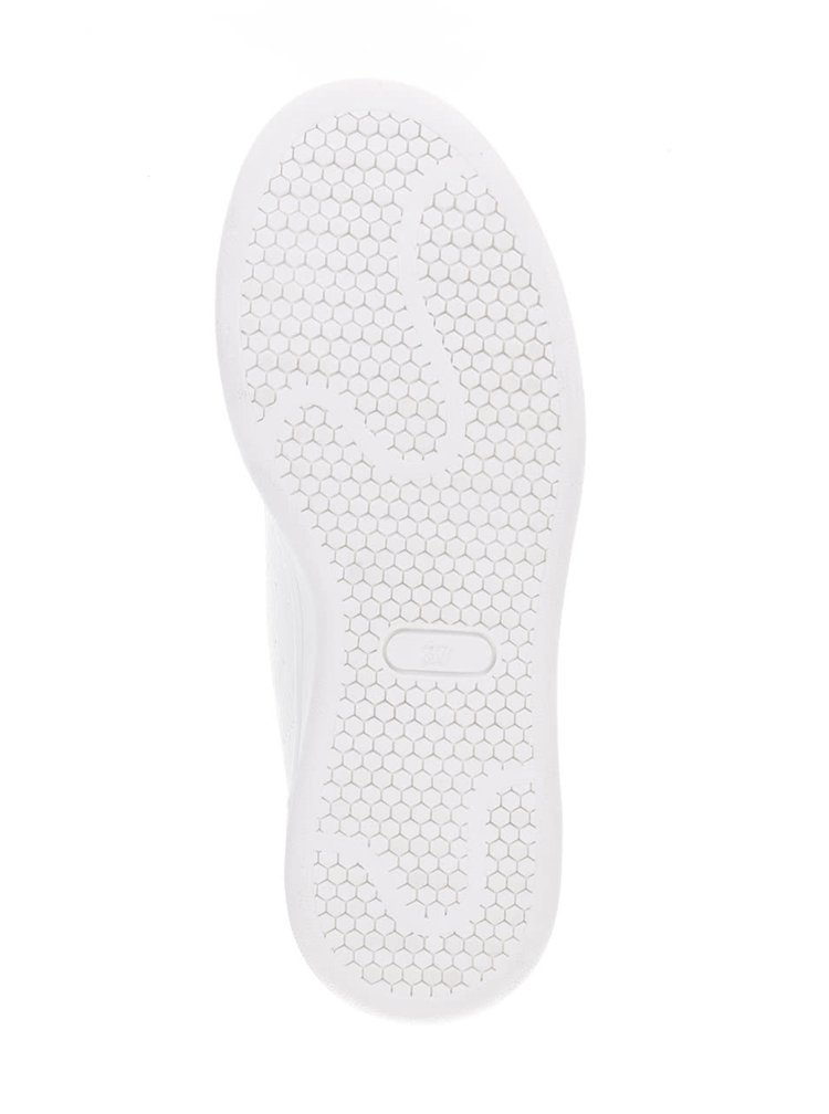 Biele dámske tenisky s lesklými detailmi v striebornej farbe Bassed