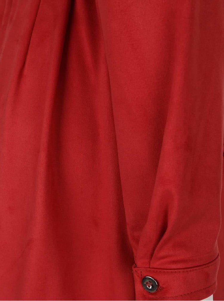 Čierna košeľové šaty v semišovej úprave Lavand