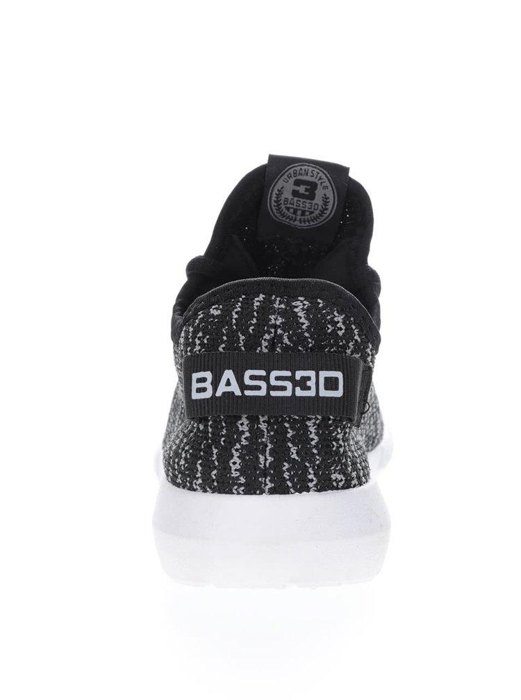 Šedo-černé žíhané dámské tenisky Bassed