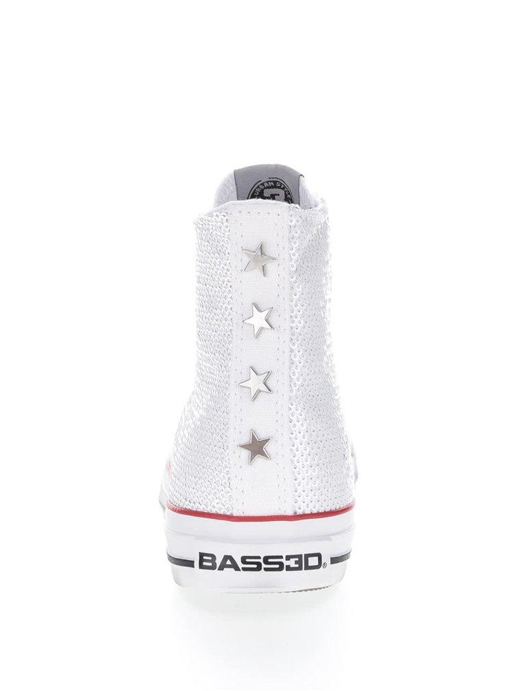 Teniși înalți albi Bassed cu paiete