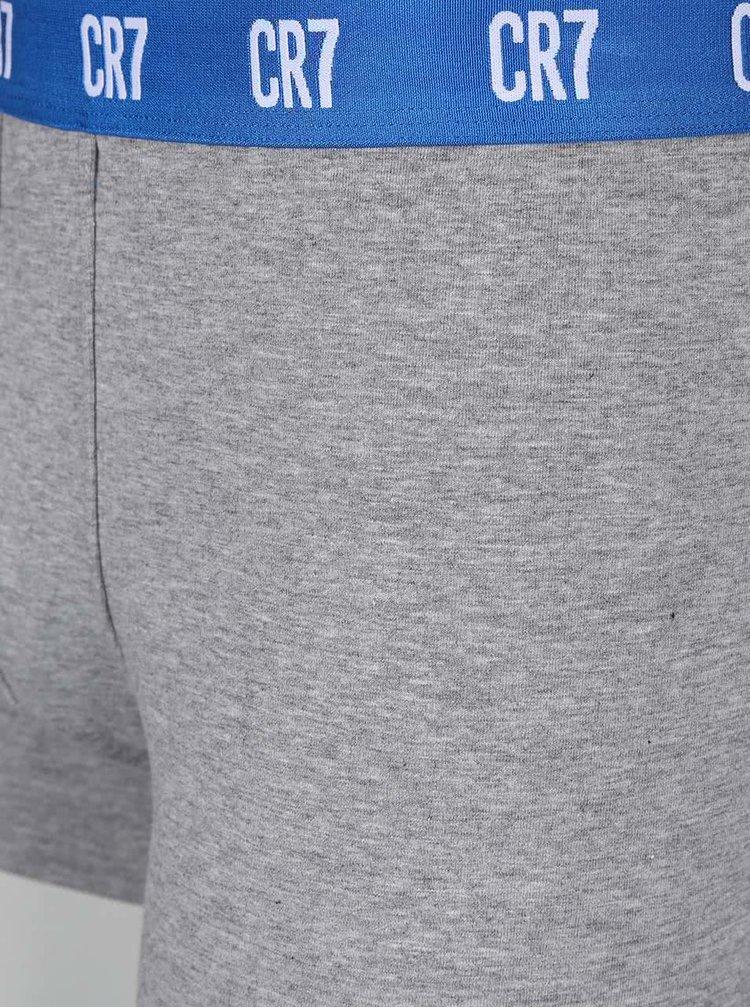 Súprava troch sivých boxeriek s farebnou gumou CR7