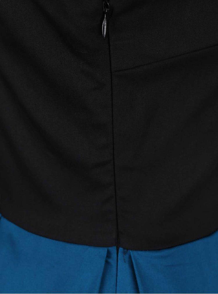 Modro-čierne šaty s pruhovanou sukňou Dolly & Dotty Anna