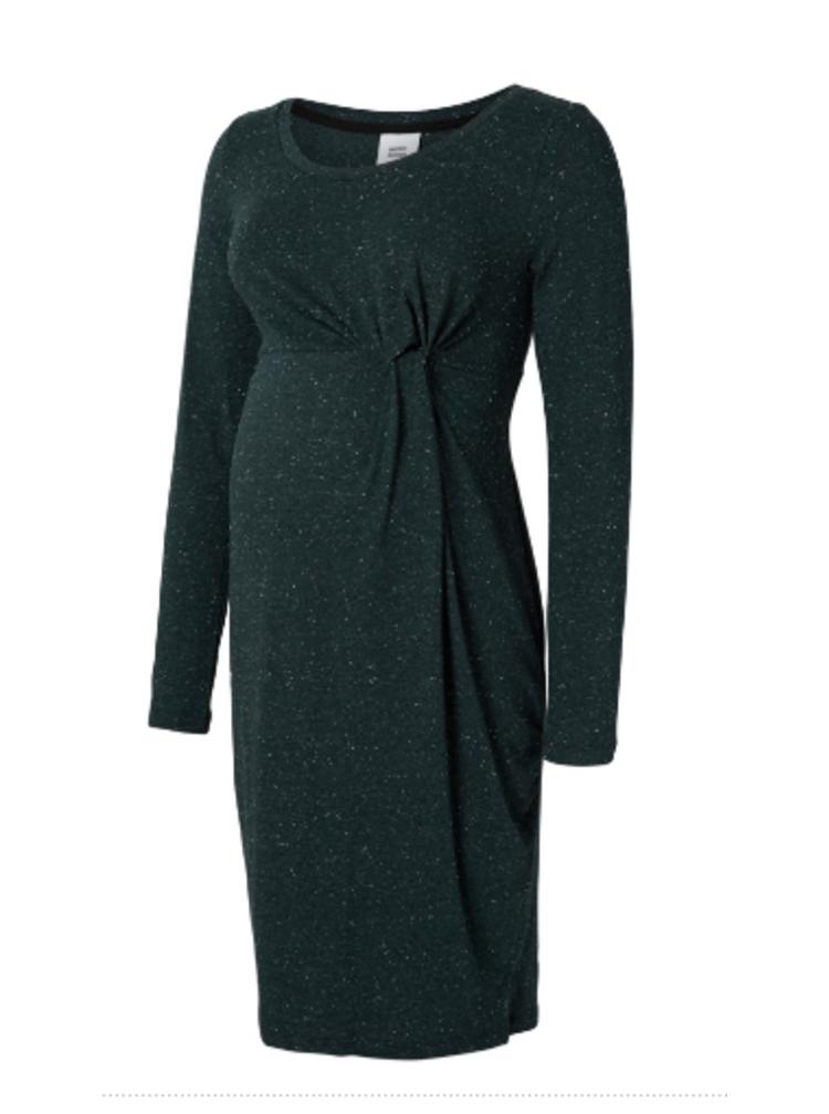 Tmavě zelené žíhané těhotenské šaty s dlouhým rukávem Mama.licious Nappy