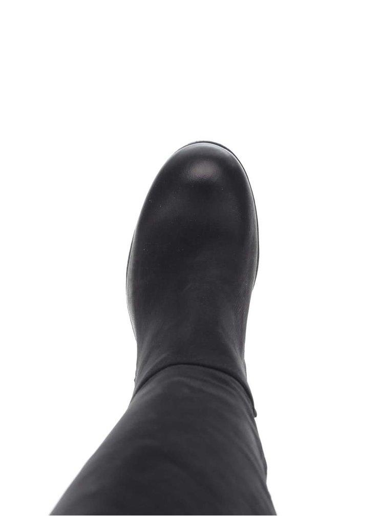 Černé kožené kozačky na zip Tamaris