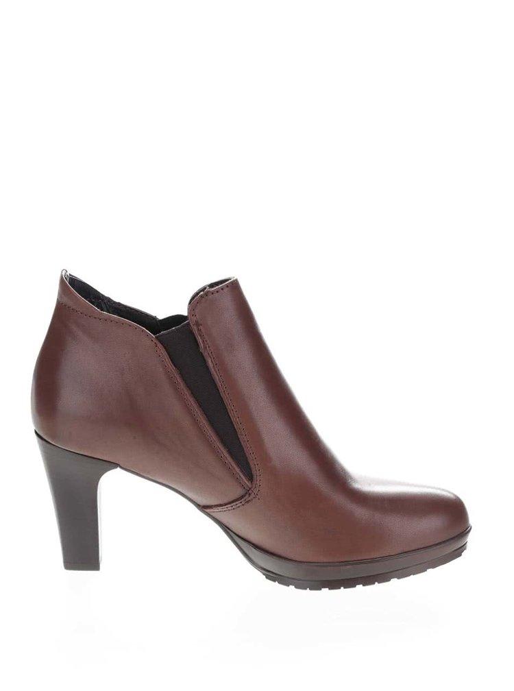 Hnědé kožené kotníkové chelsea boty na podpatku Tamaris