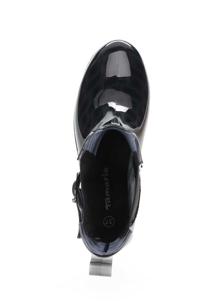 Cizme negre Tamaris de cauciuc cu catarame