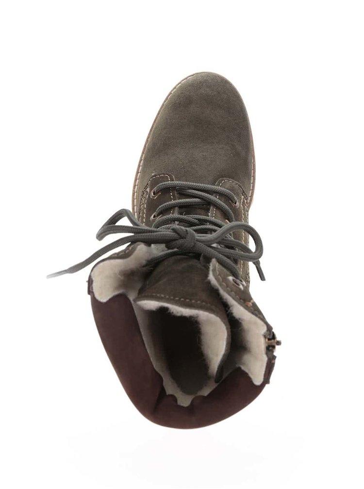 Zelené semišové šňerovací boty Tamaris