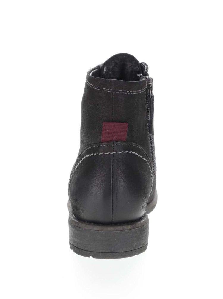 Čierne kožené členkové topánky so šnúrkami Tamaris