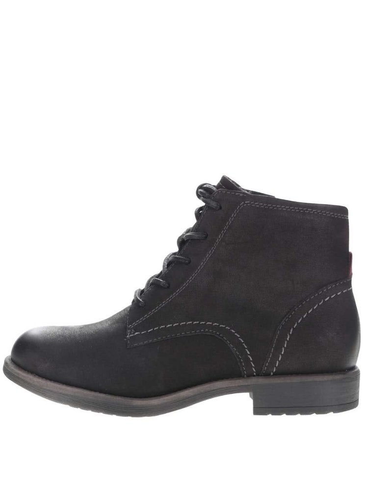 Černé kožené kotníkové boty s tkaničkami Tamaris