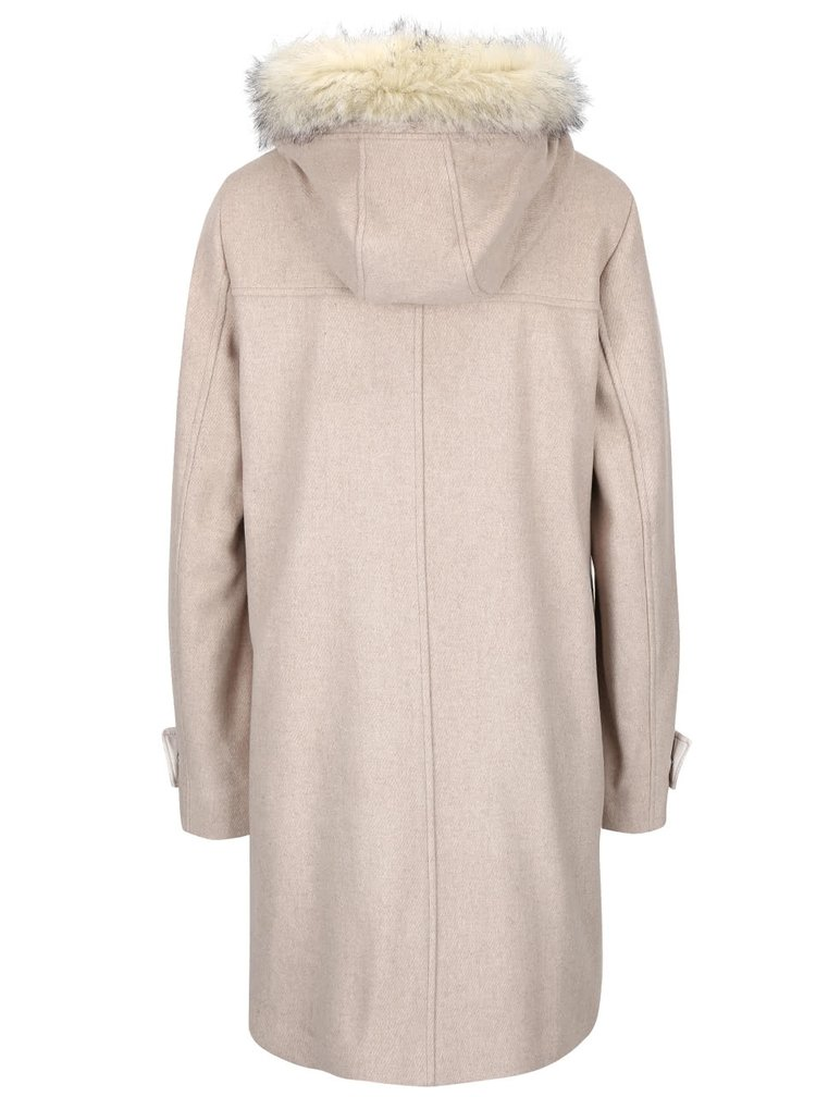 Béžový dámsky vlnený kabát s kapucňou bugatti