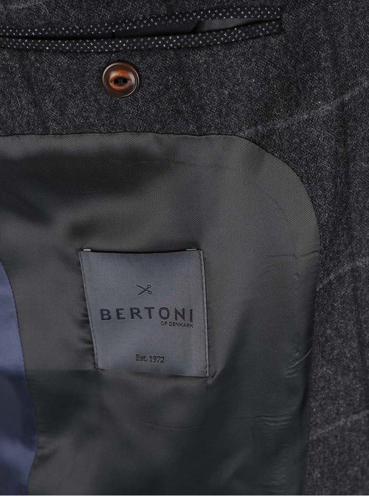 Tmavě šedý vlněný blejzr s drobným vzorem Bertoni
