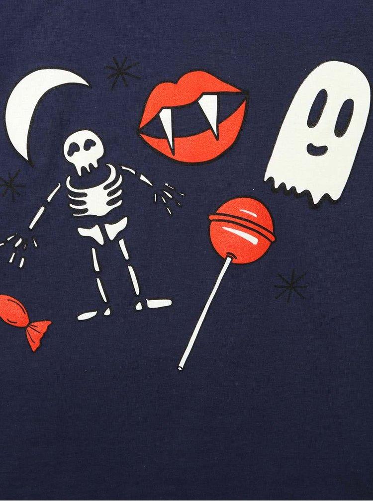 Tmavě modré klučičí tričko s fosforeskujícím potiskem ZOOT Kids Strašidla