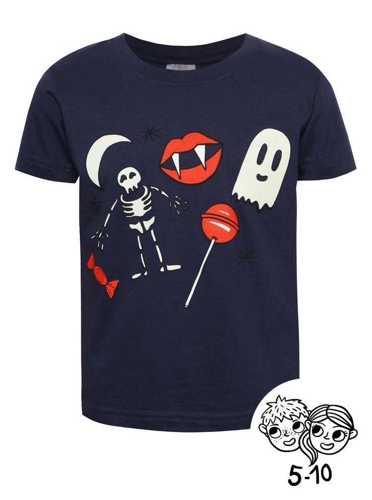 Tmavomodré chlapčenské tričko s fosforeskujúcou potlačou ZOOT Kids Strašidla