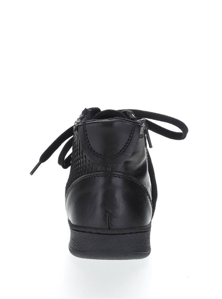 Černé kožené kotníkové tenisky Tamaris