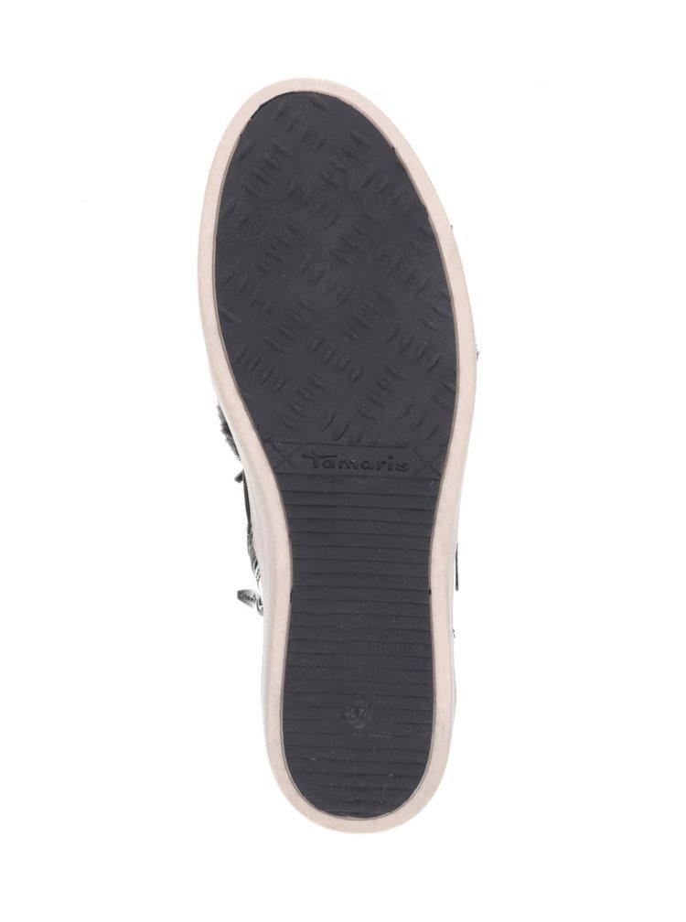 Černé kotníkové tenisky s umělým kožíškem Tamaris