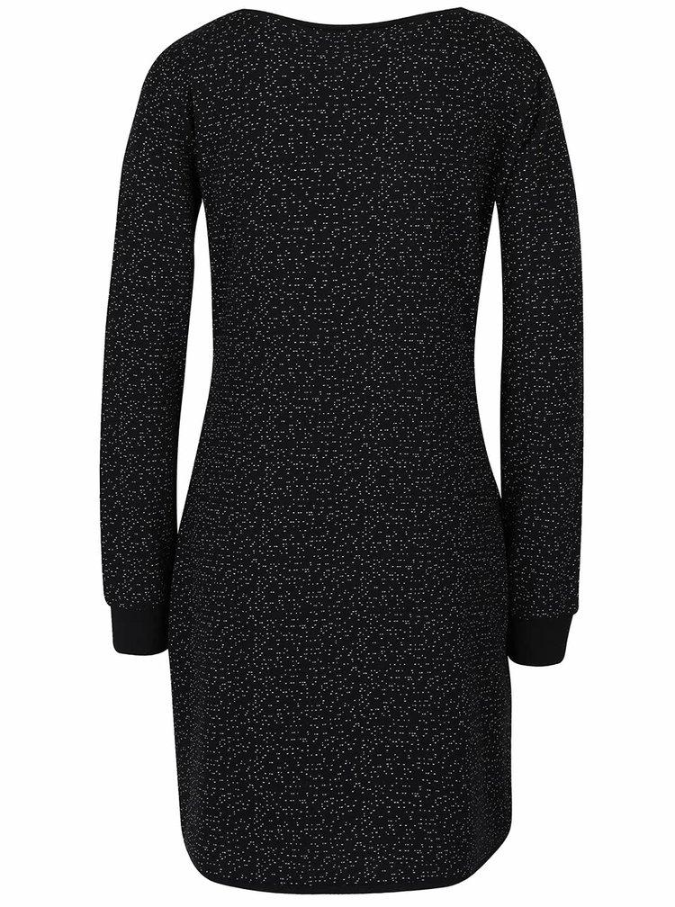 Černé vzorované šaty s dlouhými rukávy Skunkfunk Kata