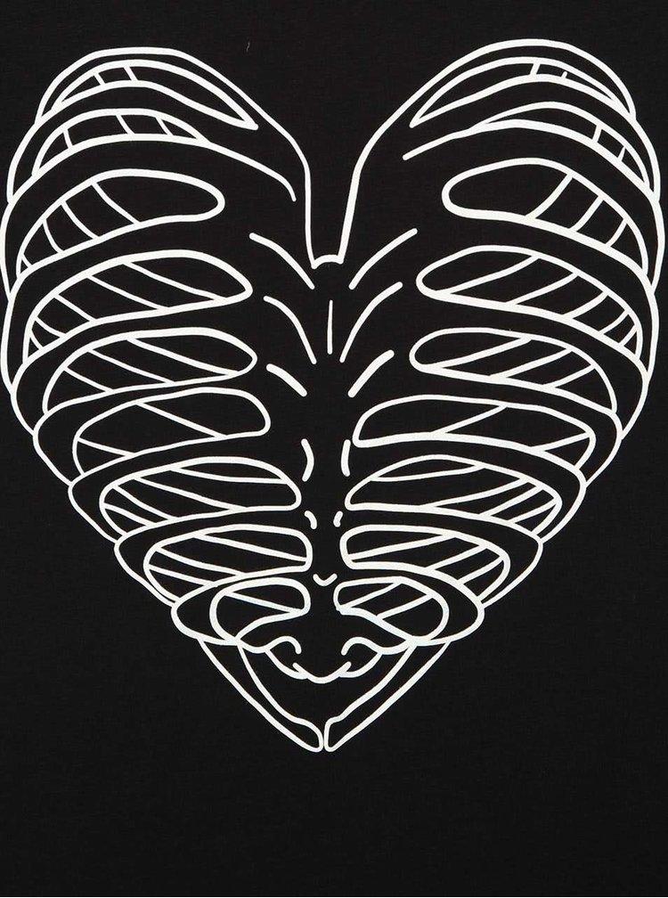 Černé dámské tričko s fosforeskujícím potiskem srdce ZOOT Originál Skeleton