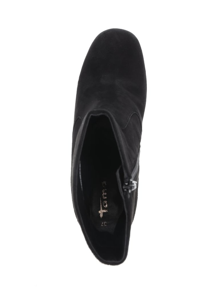 Černé semišové kotníkové boty na podpatku Tamaris