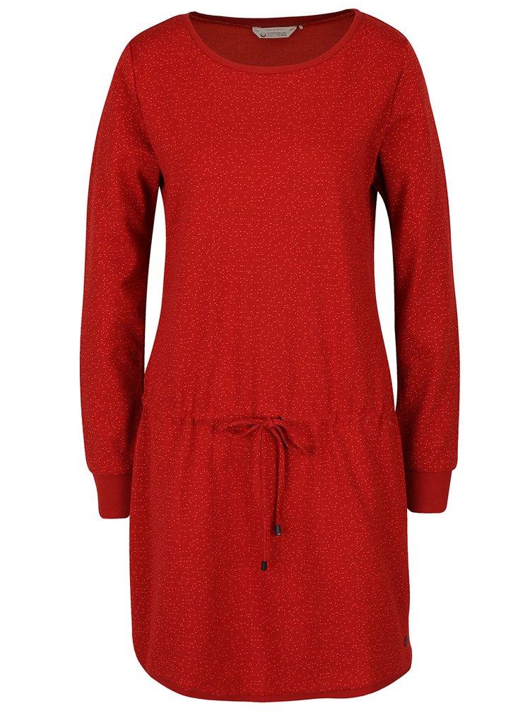 Červené vzorované šaty s dlhými rukávmi Skunkfunk Kata
