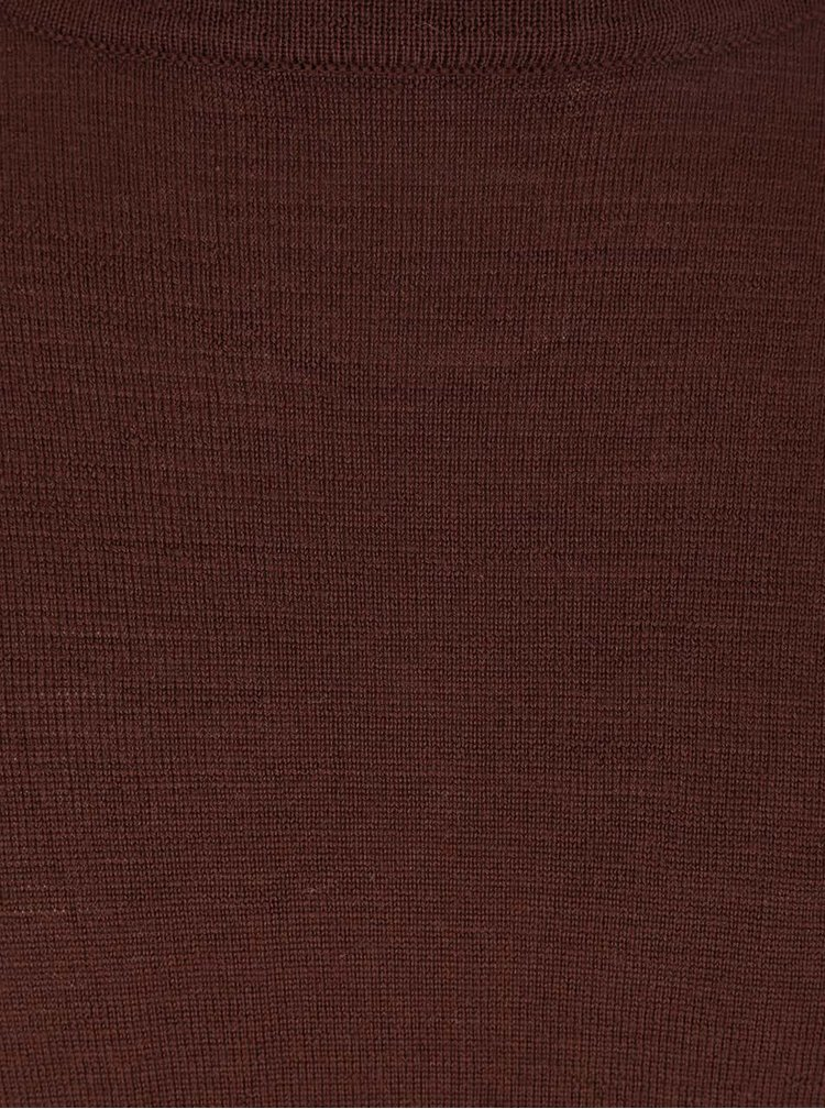 Tmavě hnědý svetr z Merino vlny Bertoni Laus