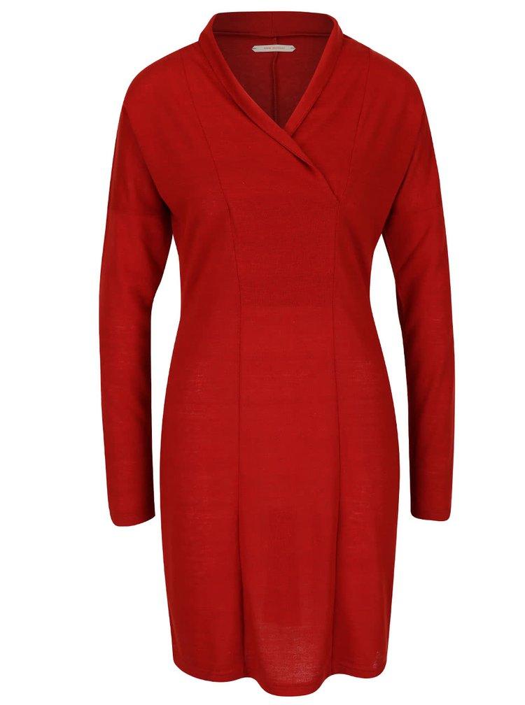 Červené průsvitné šaty s dlouhými rukávy Skunkfunk Lorelai