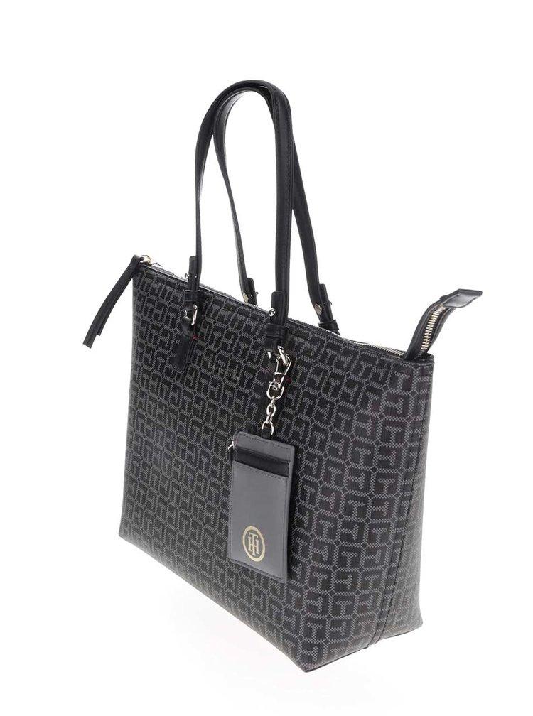 Černá vzorovaná oboustranná kabelka Tommy Hilfiger