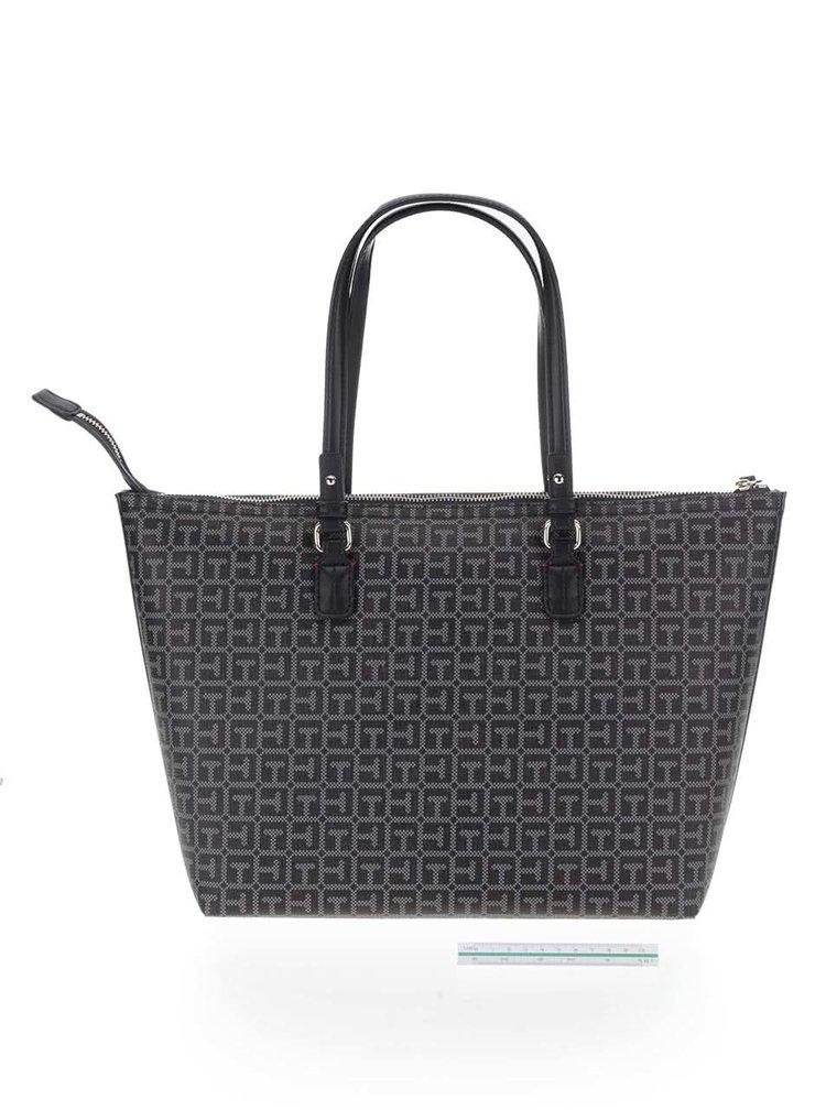 Čierna vzorovaná obojstranná kabelka Tommy Hilfiger