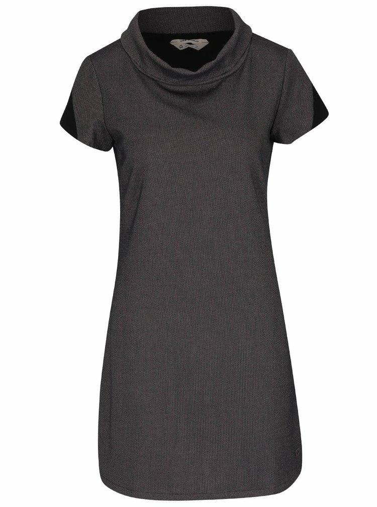 Fialovo-čierne vzorované šaty s golierom Skunkfunk Aimara