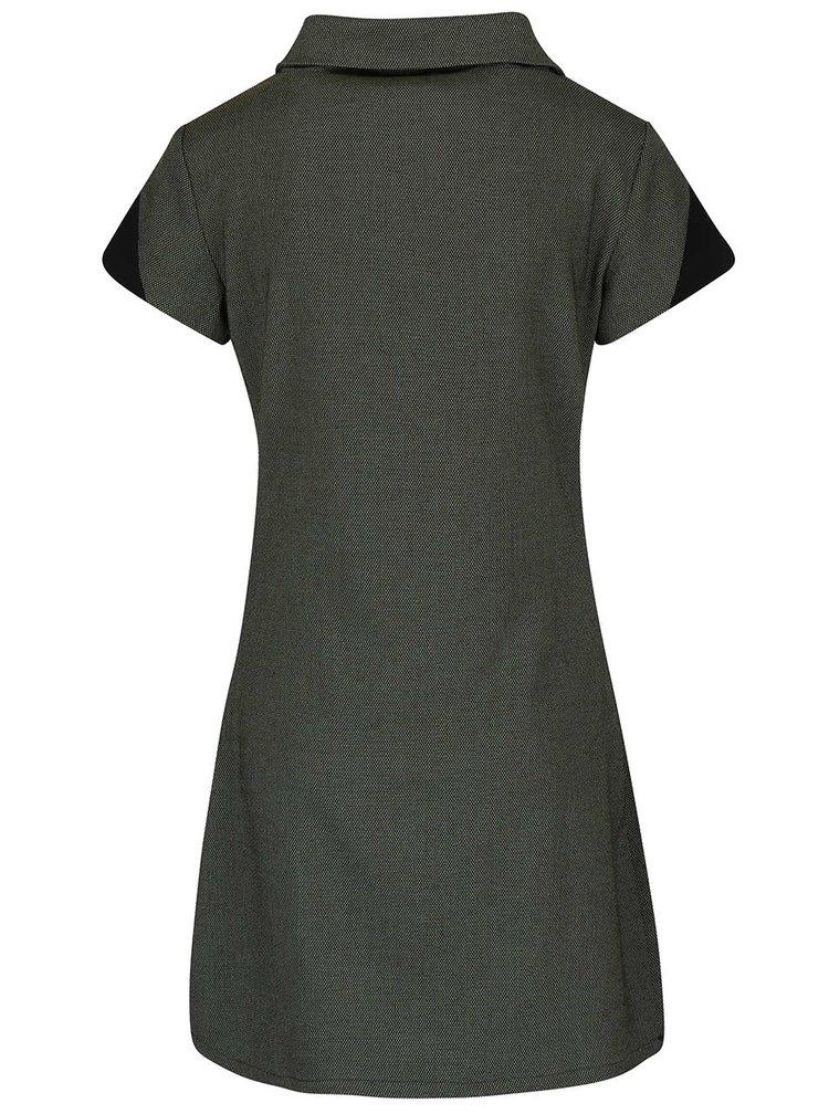 Tmavě zelené vzorované šaty s límcemSkunkfunk Aimara