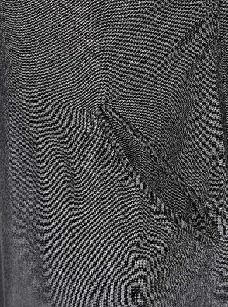 Tmavosivé šaty s golierom a vreckami Skunkfunk Jade
