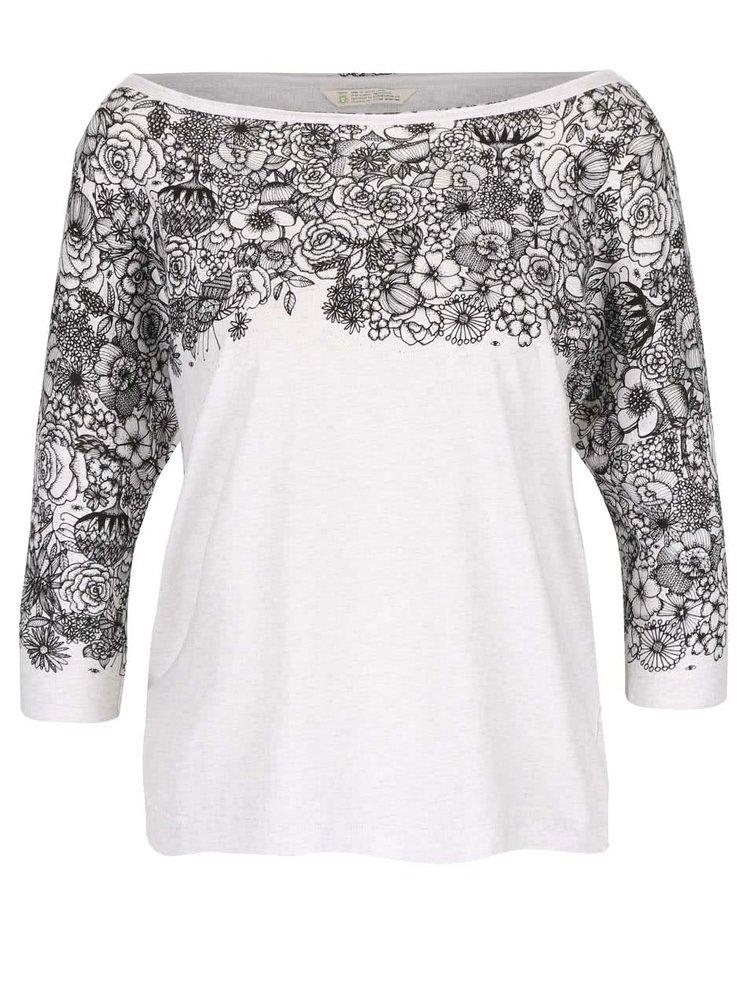 Krémové žíhané oversize tričko s květinovým potiskem Skunkfunk Lanivet