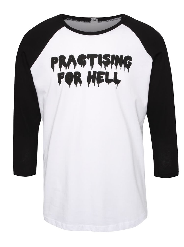 Bluză alb cu negru ZOOT Original Practising cu mesaj