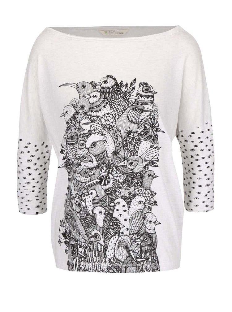 Krémové žíhané oversize tričko s potiskem Skunkfunk Kemnay
