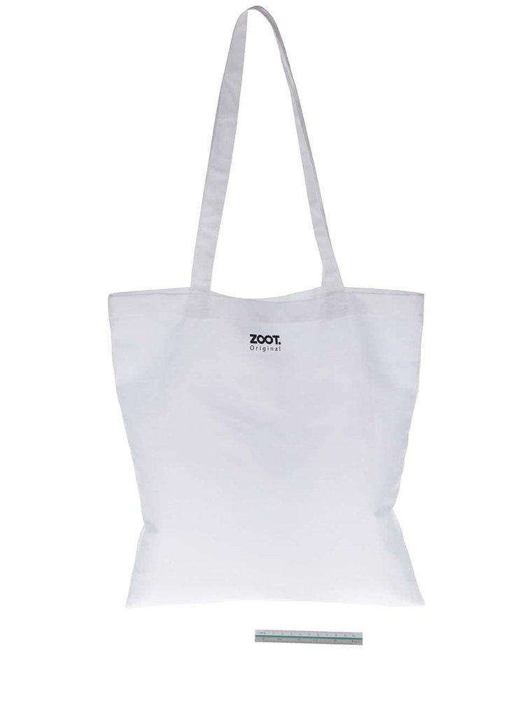 Biela plátená taška s lebkou ZOOT Originál Muerte