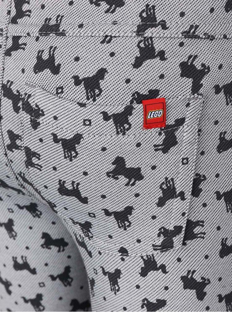 Šedé holčičí elastické kalhoty s potiskem koňů LEGO Wear Inspire