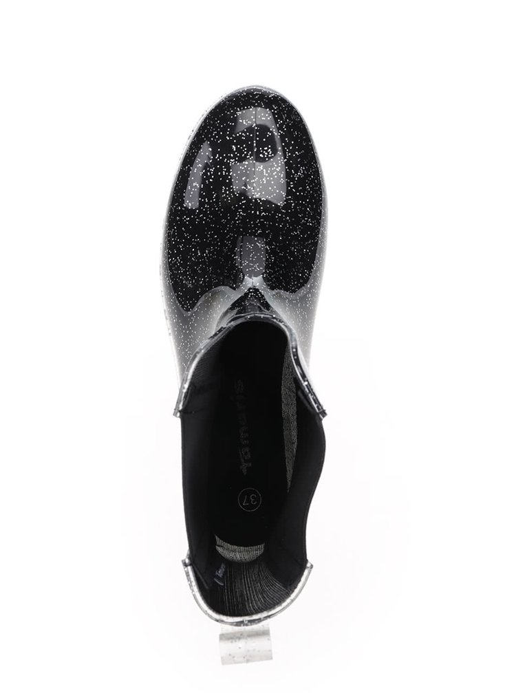 Černé třpytivé gumové chelsea boty Tamaris