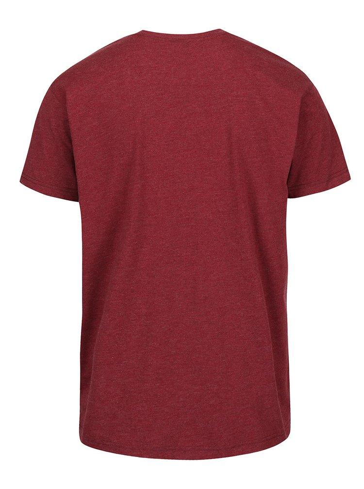 Vínové žíhané pánské triko s potiskm Horsefeathers New Base