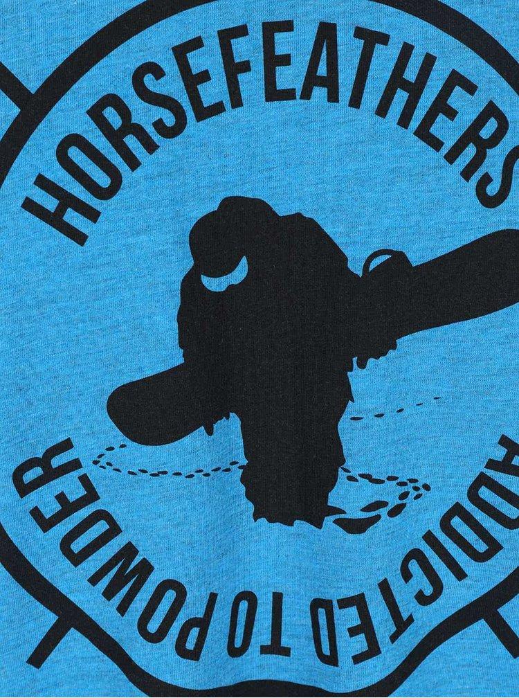 Modré žíhané pánské triko s potiskem Horsefeathers Atp