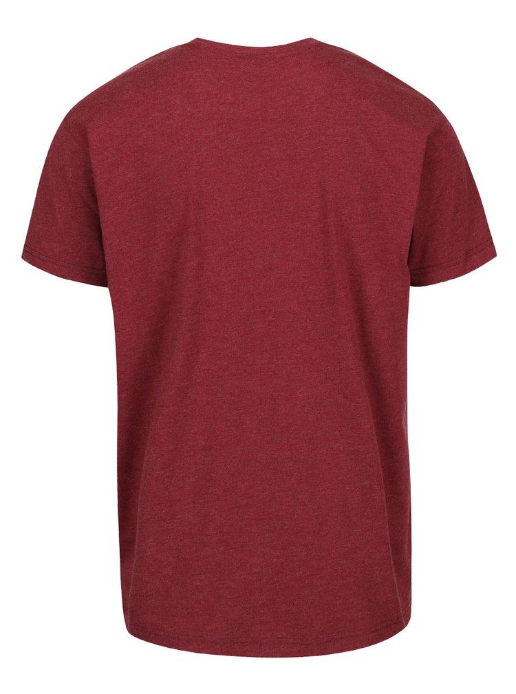 Vínové melírované pánske tričko s motívom Yetiho Horsefeathers Yeti