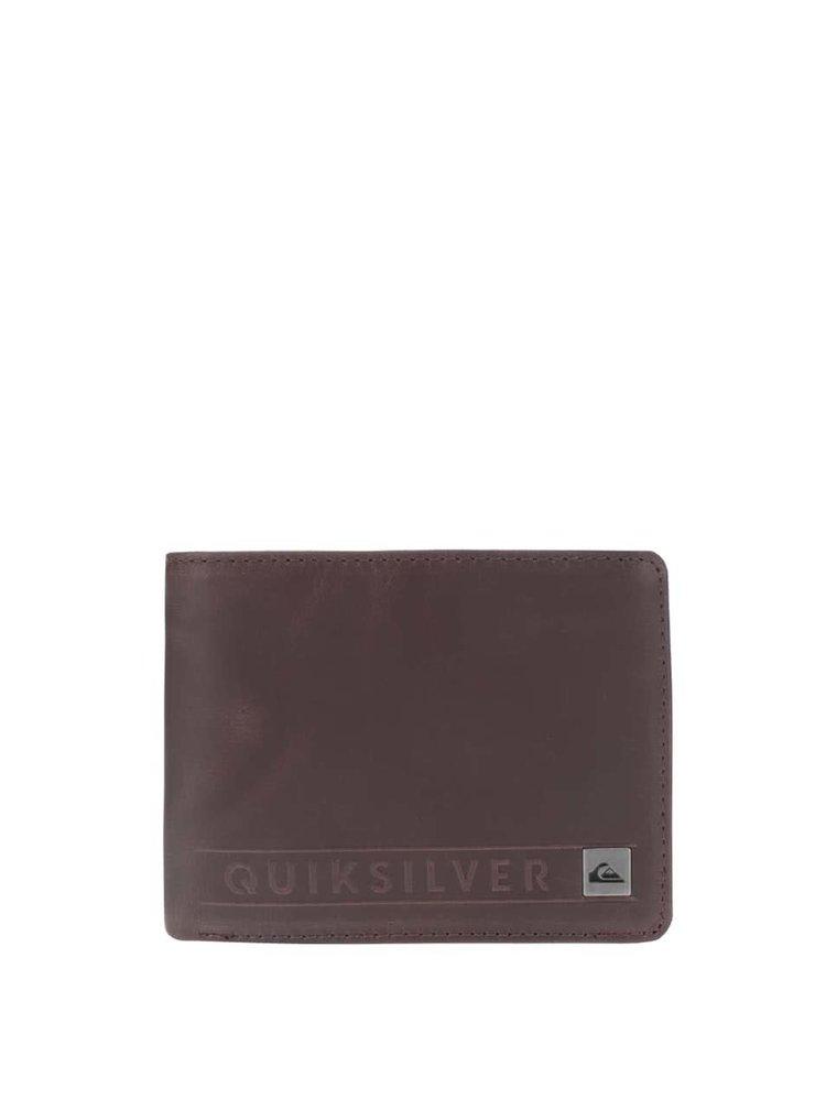 Tmavohnedá pánska kožená peňaženka Quiksilver Mack