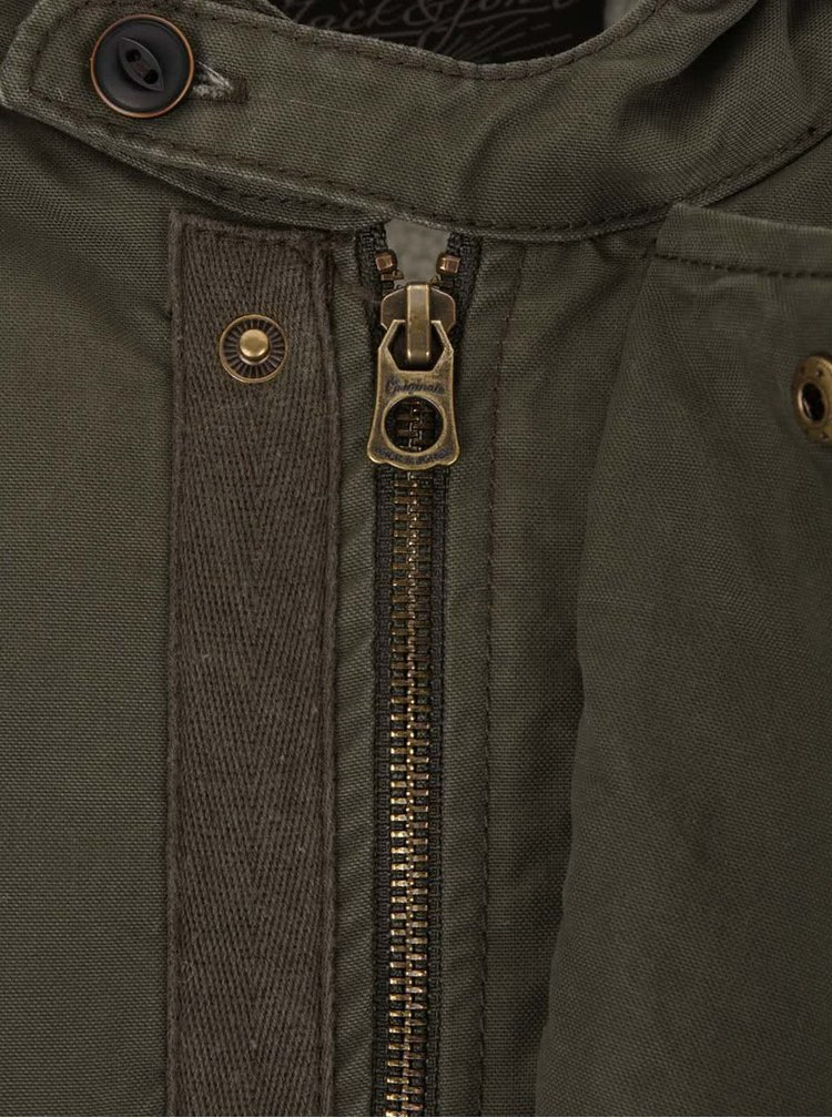 Jachetă verde închis Jack & Jones Originals Benson cu glugă