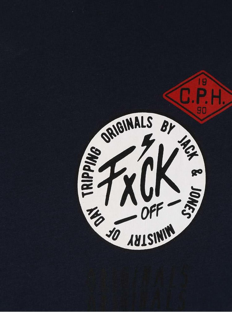 Tricou albastru închis Jack & Jones Originals Rides din bumbac cu print