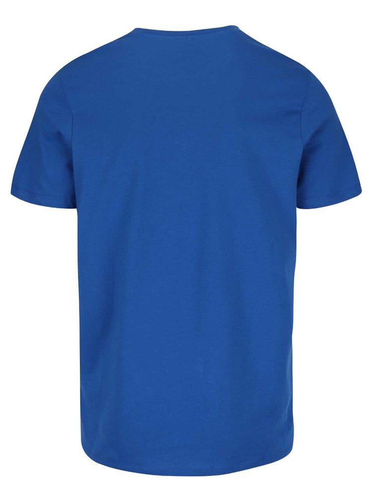Tricou albastru Jack & Jones Rraffa din bumbac cu imprimeu