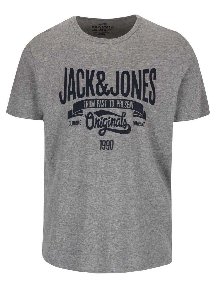 Sivé tričko s potlačou Jack & Jones Rraffa