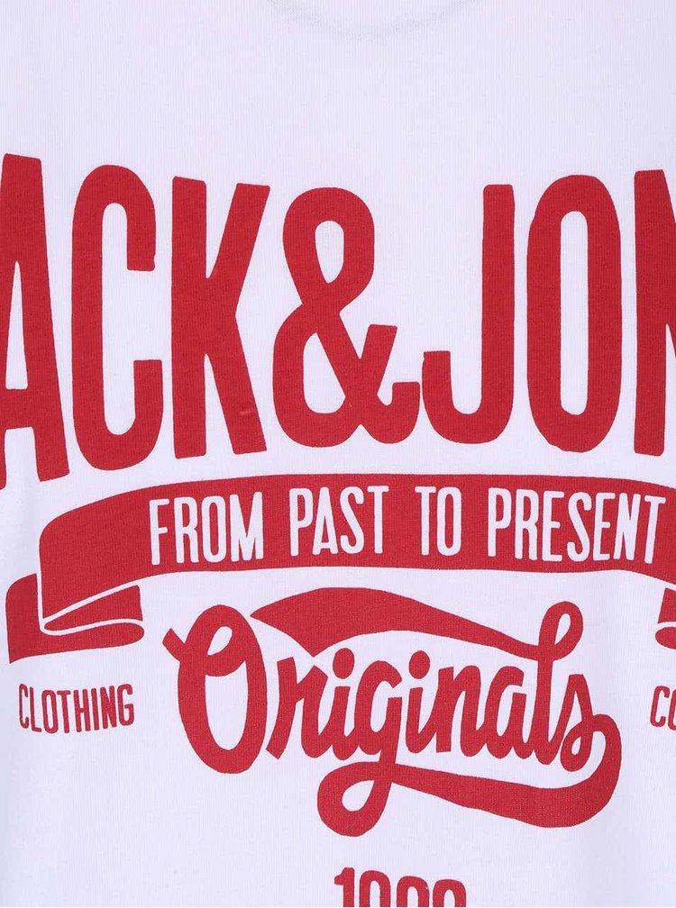 Tricou alb Jack & Jones Rraffa din bumbac cu print
