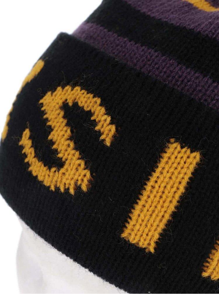 Caciula negru cu galben Quiksilver Summit cu ciucure