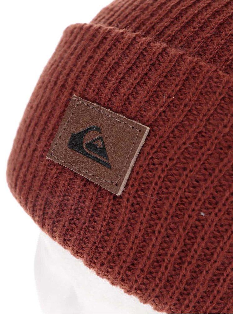 Červenohnedá pánska čiapka s logom Quiksilver Performer