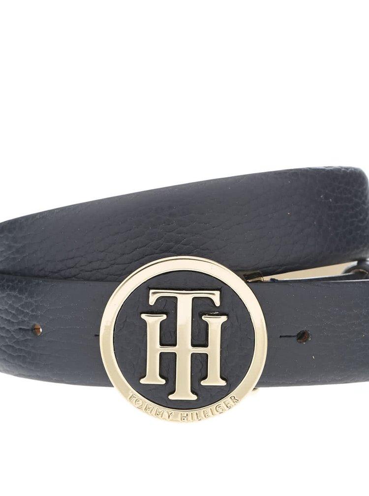 Tmavě modrý dámský kožený pásek s kulatou přezkou Tommy Hilfiger